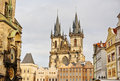 Church of our Lady Tyn and astronomical clock in old town square Royalty Free Stock Photo