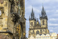 Church of our lady before tyn and astronomical clock in prague Royalty Free Stock Photos