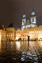 Church of our lady before tyn and old town square in prague at night Royalty Free Stock Images