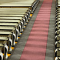 Church pews and aisle in sunshine high angle view of Stock Photography