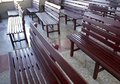 Church pews closeup for prayers in village Stock Photography