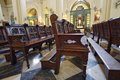 Church pews in a place of worship lima peru Stock Photo
