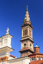 Church in piemonte tower of a at alessandria cuneo italy Royalty Free Stock Photography