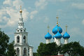 Church in pushkino with a sky blue cupolas of saint nicholas moscow region Stock Photos