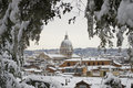 Church of Rome under snowfall Royalty Free Stock Photo
