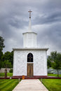 Church in ruh ordo of kyrgyzstan catholic cultural complex near issyk kul lake at overcast sky cholpon ata Royalty Free Stock Image