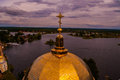 The church s dome in the background of seliger lake view from bell tower Stock Photography