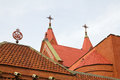 Church s red tile roofs in minsk belarus roof of the old Stock Image