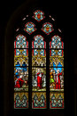 Church s window a colorful in brittany france Royalty Free Stock Photo
