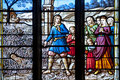 Church s window a colorful in brittany france Stock Photo