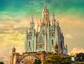 Church of the sacred heart of jesus located on the summit of mount tibidabo in barcelona catalonia spain Royalty Free Stock Image