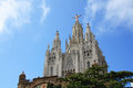 Church of the sacred heart of jesus on mount tibidabo christus statue by josep miret at expiatory summit in barcelona Stock Images
