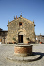 Church of saint maria in monteriggioni tuscany italy the xiii century on piazza roma Stock Photo