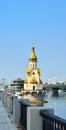 Church of saint nicholas on the water old embankment and havanskyi bridge in kiev at night capital of ukraine kyiv Royalty Free Stock Images