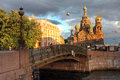 Church in saint petersburg russia on spilled blood or resurrection of our savior during a golden hour june Stock Photography