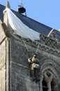 Church of sainte mere eglise in normandie france paratrooper on the Royalty Free Stock Photos