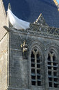Church of sainte mere eglise in normandie france paratrooper on the Stock Images