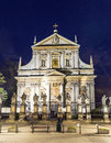 Church of saints peter and paul in old town district by night Royalty Free Stock Photo