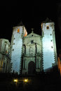Church of San Francisco Javier at night, Monumental city of Caceres, Extremadura, Spain Royalty Free Stock Photo
