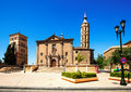 Church of san juan de los panetes and zuda tower at zaragoza aragon spain Royalty Free Stock Photography