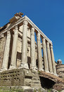 The church of san lorenzo in miranda in the forum roman built th century within remains temple antoninus and faustina tempio di Royalty Free Stock Photography