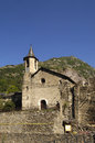 Church of Sant Andreu of Tavascan village , Lleida province, pyrenees mountains, Spain Royalty Free Stock Photo