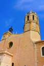 Church of Sant Bartomeu i Santa Tecla Sitges, Spain Royalty Free Stock Image