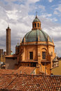 Church of santa maria della vita domed roof the with the two towers asinelli and garisenda in the background bologna italy Stock Photo