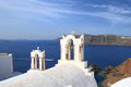 Church of santorini island in greece belfry classical Royalty Free Stock Photography