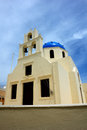Church on santorini ortodox with bells island Royalty Free Stock Images