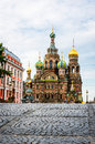 Church of the savior on blood behind the bridge in the morning saint petersburg Royalty Free Stock Photo