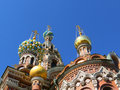 Church of the savior on the blood of christ or the church of the savior on blood in st petersburg orthodox odnoprestolny memorial Royalty Free Stock Photo
