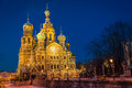 Church of the savior on blood at night in st petersburg Stock Photos