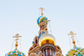 Church of the savior on spilled blood domes ot st petersburg russia Royalty Free Stock Photos