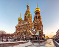 Church of the savior on spilled blood in russia a frozen dawn casts light one main sights st petersburg a gilded with Stock Photography