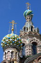 Church of the saviour on spilled blood domes in saint petersburg russia Stock Image