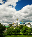 Church in sergiev posad russia exterior view of the lavra monastery with its unique and colorful and golden domes Royalty Free Stock Photo