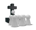 Church service simple pastor figure christian cross symbol and crowd d illustration Stock Photography