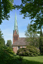 Church of siek in northern germany idyllic historical near hamburg the summer sunshine Royalty Free Stock Image