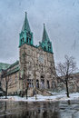 Church on a Snowy Winter scene Royalty Free Stock Photo