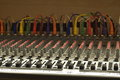 Church soundboard used closeup with colorful cords Stock Images