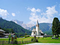 A church in south tyrol italy at the entrance of the prags dolomites is the parish of st veit the pragser valley is tributary of Stock Images