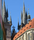 Church spires in europe old against blue sky Stock Image