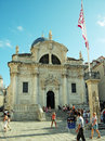 Church of st blaise in old city of dubrovnik croatia july tourists walk along on luza square with this is Stock Images