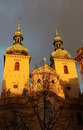 Church of st havel in prague czech republic sunlit on the cloudy sky winter Stock Images