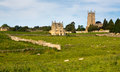 Church St James across meadow in Chipping Campden Stock Photography