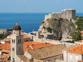 Church st jeronim and fort lovrijenac in dubrovnik croatia Stock Photography