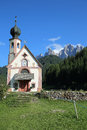 Church of st johann in villnoss with the odle mountains south tyrol italy Royalty Free Stock Photos