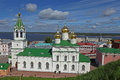 Church of st john the baptist russia stone five domed on high basement with hipped bell tower nizhny novgorod Royalty Free Stock Photo