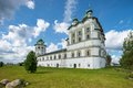 Church of st john the divine view bell tower and in vyazhishchsky monastery novgorod region vyazhischi Stock Photo